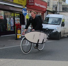 Surfing Cyclist (occama) Tags: bike bicycle surfboard carrier riding cornwall uk newquay