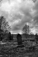 Graveyard (Dr Nigel) Tags: richmond northyorkshire england yorkshire samsung nx11 mirrorless mono monochrome clouds gravestone graveyard easby easbychurch easbyabbey stagatha stagathaschurch churchyard