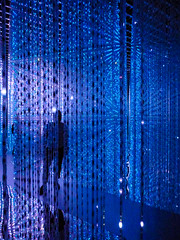 The Space Walk (Steve Taylor (Photography)) Tags: curtain ledlights futureworld whereartmeetsscience artsciencemuseum art abstract impressionist blue mauve man asia singapore lines pattern texture