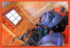inside the shed (Gillian Everett) Tags: shed redcedar lawn mower 365 2019 119 49