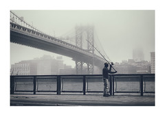 fisherman along the East River (Nico Geerlings) Tags: ngimages nicogeerlings nicogeerlingsphotography nyc ny usa manhattan eastriver fisherman dumbo brooklyn lowermanhattan chinatown manhattanbridge fog foggy mist chineseman fishing streetphotography fujifilmxt2 xf56mm