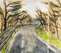 Sur la route. (cecile_halbert) Tags: aquarelle peinture croquissurlevif paysage landscape drawing sketch sketchbook carnetderoute watercolor ontheroad onlocation croquis