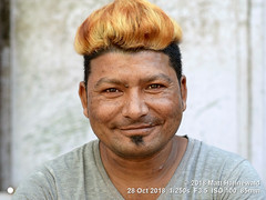 2013-11c Targeting Asia's Bold Menfolk (76) 2018 (05) (Matt Hahnewald) Tags: matthahnewaldphotography facingtheworld people character head face eyes smilingeyes expression lookingatcamera smile beard soulpatch hair hairstyle dyedhair golden blonde trendy haircut undercut consent concept humanity living travel culture lifestyle happiness style cultural jhunjhunu rajasthan india asia asian indian rajasthani individual oneperson male young man portraiture physiognomy nikond610 nikkorafs85mmf18g 85mm 4x3ratio resized 1200x900pixels horizontal street portrait closeup headshot fullfaceview outdoor colour posing smilingmouthclosed clarity