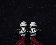 Day 4383 (evaxebra) Tags: wh wah converse shoes bat wings shwings space stars blackmilk tartan red leggings punk galaxy falling floating