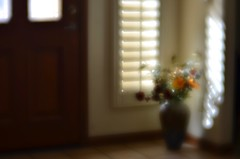 Basking (MPnormaleye) Tags: utata:project=ip278 vase flowers tile windows door sidelight soft unfocused lensbaby seeinanewway