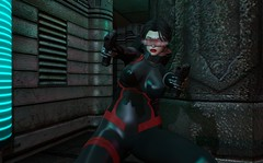 Assassin at 2019-XS (beccaprender) Tags: catwa catya bento maitreya lara session ling limerence ghoul suicidalunborn asteroidbox cyberpunk sf sciencefiction 2019xs ihatecyborgs latex catsuit