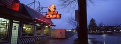 Round Up Cafe (Orion Alexis) Tags: film 35mm analog panorama widescreen cinematic neon retro sign light blue hour evening night photography cafe diner vancouver fujifilm tx1 xpan kodak ektachrome e100 cityscape urban rainy