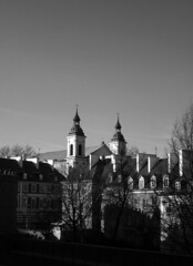 (eelend) Tags: black white warsaw poland city sky buildings towers trees autumm shadows sunlight