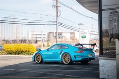 Miami blue X gold wheels (nyccars) Tags: exotic wing weissach gt racing cars car goldwheels miamiblue 9912 991 911 porsche