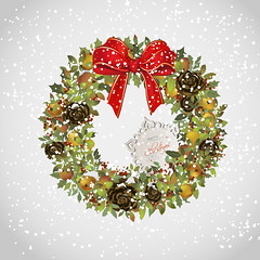 Christmas wreath with apples cones holly and bow (heliga3333) Tags: background border bow branch card celebration christmas circle congratulation december decor decoration decorative design element festive frame garland green greeting happy holiday holly illustration invitation merry apple cone evergreen wreath snowflake snow