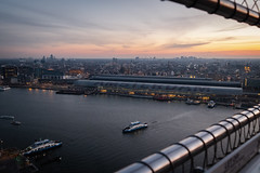 AMSTERDAM CENTRAAL (küstenkind_dennis) Tags: netherlands amsterdam holland sky city cityscape fuji fujifilm harbor sunset clouds rooftop