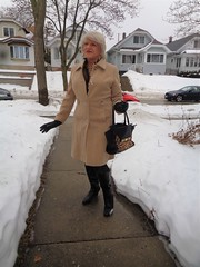 I Will Endure! (Laurette Victoria) Tags: snow winter woman laurette purse coat boots gloves blonde