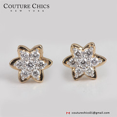 Valentine Special Genuine Pave Diamond Flower Stud Earrings 14k Yellow Gold Fine Jewelry Birthday Gifts (couturechics.facebook1) Tags: valentine special genuine pave diamond flower stud earrings 14k yellow gold fine jewelry birthday gifts