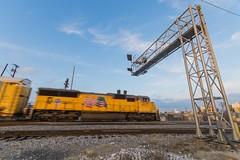 Union Pacific Dallas, TX (jtrainb) Tags: dallassub railroads signal texas unionpacific blur locomotive sunset train