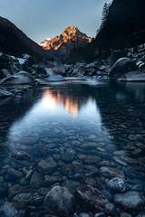 The mountain (ramvogel) Tags: sony a6300 sigma 16mm f14 water longexposure mountain sunset stones ticino switzerland landscape river
