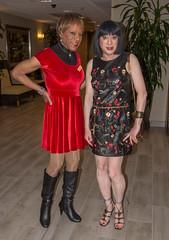 Kacey & Christina! (kaceycd) Tags: crossdress tg tgirl lycra spandex velvet minidress pantyhose boots sexyboots kinkyboots kneeboots stilettoboots highheels stilettos s bodysuit turtleneck