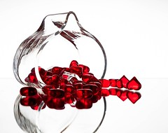 Hearts (Karen_Chappell) Tags: red heart glass reflection white stilllife valentine valentinesday holiday reflections shapes shape