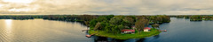 Sunshine Lodge Pano (abridwellphoto) Tags: travel panorama pano water trees lake sunset clouds florida foliage aerial drone mavic landscape