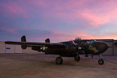 Barbie III at Sunset (d-day buff) Tags: aviationphotography b25 cavanaughflightmuseum dallas flightmuseum sunset sky clouds b25hmitchell wwii
