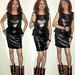 20180526 0121 - fashion show - Clio - black leather dress - 38210190-44210112-48210131 (triptych)