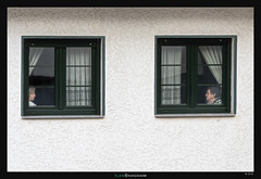 Two Windows, Two Women (Ilan Shacham) Tags: street windows woman women window atmosphere alone loneliness relations urban city fineart fineartphotography cudillero asturias spain