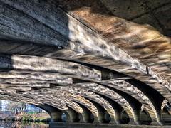 Curves and Reflected Light (Mr_Pudd) Tags: nationalcyclenetwork calderandhebblenavigation arches reflectedlight concrete bridge a62leedsroad cooperbridge huddersfield leedsroad rivercalder