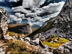 The Dolomites - view from Valparola Pass (Ostseetroll) Tags: belluno geo:lat=4652299615 geo:lon=1200080340 geotagged ita italien valparolapass dolomiten dolomites dolomiti alpen alps olympus em10markii sancassiano