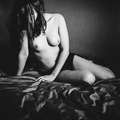 Shadow (andytrax) Tags: aixenprovence shadow girl black blackandwhite noiretblanc analog film filmisnotdead expiredfilm france breast nude naked topless tits piercing panties bedroom inmyroom room dark sexy sensual sensuality sentimental square 6x6 carré 120film 120 medium format mamiya mamiyac33