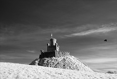 Castle on the hill (Vab2009) Tags: dee donaghadee themoat castle turret cloud sky mound hill ir infrared