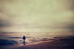 On The Beach (Janet_Broughton) Tags: lensbaby sol45 beach sea seaside figure coast landscape