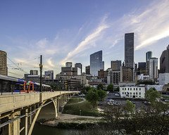 609 Main at Texas Skyline-Main Street Bridge No 2 (Mabry Campbell) Tags: 609mainattexas harriscounty hines houston pickardchilton texas usa architecture bridgemchasetower building downtown image photo photograph skyline train f71 mabrycampbell march 2019 march272019 20190327609campbellh6a6565pano 24mm ¹⁄₁₅sec 100 tse24mmf35lii