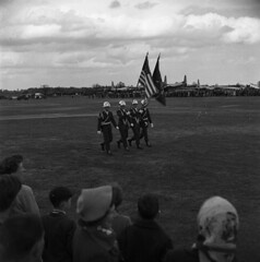 What Air Show ? Where ? Please identify. Photo's by Alf Jefferies (Photos by Alf Jefferies) Tags: shiny helmet american servicemen england air show uk 1960s70s planes marching people flags