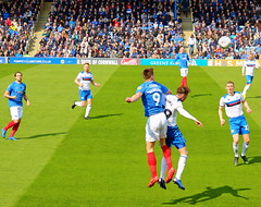 Portsmouth v Rochdale (Roy Richard Llowarch) Tags: portsmouth portsmouthengland portsmouthhampshire portsmouthfc portsmouthfootballclub portseaisland fratton frattonpark pompey pompeyfc pompeyfootballclub pompeyfans playuppompey blues theblues bluearmy rochdaleassociationfootballclub dale thedale rochdale rochdaleafc rochdalefc rochdalefootballclub football footballstadiums footballgrounds footballfans footballteams footballclubs pup soccer soccergrounds soccerstadiums soccerclubs soccerteams soccerfans beautifulgame thebeautifulgame spring springtime players footballers teams team sporting sports sportsvenues sportsmen sportstadiums grass green people outdoor blue white red english englishheritage englishhistory englishfootballfans
