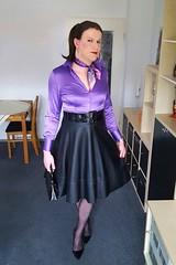 Retro (Rikky_Satin) Tags: silk satin blouse leather full skirt petticoat nylons pantyhose highheels pumps scarf handbag crossdresser transvestite tgirl tgurl sissy feminization