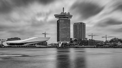 Eye and the A'dam lookout... (Aleem Yousaf) Tags: eye film institute museum amsterdam world cultural institution conservation promotion cinematography overhoeks harbor austrian architecture delugan meissl city cityscape panoramic deck tourist attraction travel long exposure clouds sky lee neutral density filter big stopper water river cranes constuction monochrome black white reflections nikon d810 nikkor photography photo walk riverside netherlands nederlands holland noord north