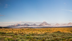 Grand Teton Mountains in the early morning light. USA Sept 2017-00405 (Peter-D-Smith) Tags: canonef1635mmf28liiusm canoneos5dmkiii dawn grandteton grandtetonnationalpark landscape mountains september2017 sunrise usa willowflatsoverlook panostitch panorama