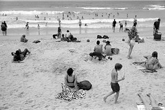 Manly beach, summer 2018-19  #933 (lynnb's snaps) Tags: 201812 35mm apx100 manly om4ti olympus zuiko35mmf2 bw beach film summer sunbaking sunbathers manlybeach sand ocean surf waves people hotel sitting olympusom4ti omzuiko35mmf2 agfaapx100 rodinal sydney australia ©copyrightlynnburdekinallrightsreserved ishootfilm