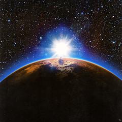 sunrise (woodcum) Tags: planet sunrise space cosmos cosmic dogs stars shine retro vintage color grain collage surreal
