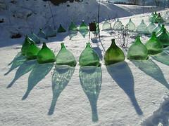 green fingers (nightcloud1) Tags: glass green damigiane reflection snow circle fingers