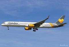 Condor 757-300 G-JMOF (birrlad) Tags: gatwick lgw international airport london uk aircraft aviation airplane airplanes airline airliner airlines airways arrival arriving approach finals landing runway condor boeing b757 b753 757 757300 757330 gjmof