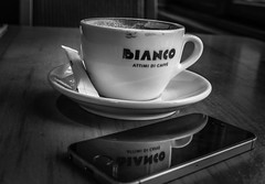 Budapest in black and white (PhotoFreakx) Tags: lumix bw phototechnique productphotography restaurant city blackandwhite meeting business commercial advert iphone hungary budapest coffeeshop coffee