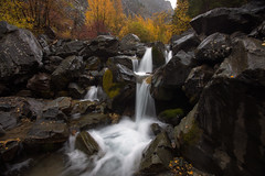 Small Waterfall on a Fall Rainy Day (NickSouvall) Tags: dark rain rainy storm overcast wet black rocks gray clouds cloudy day morning yellow gold leaves fall foliage autumn color aspens stream flowing water waterfall long exposure white rushing waves flow landscape nature photography