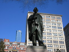 President Abraham Lincoln Bronze statue Union Square Park 1542 (Brechtbug) Tags: former president abraham lincoln bronze statue union square park artist sculptures statues manhattan new york city 2019 nyc art arts world abe characters next tourists february 02162019 presidents day life size portrait portraits urban winter season stair stairs step facade museum front entrance top hat tophat stove pipe hats formal dress politician politics political gent