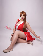 Yvaine Dazzling as Mai Shiranui, from King of Fighters, by SpirosK photography (SpirosK photography) Tags: yvainedazzling maishiranui kingoffighters spiroskphotography cosplay costumeplay portrait studio highkey sexy red snk kof