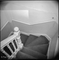 Up The Down Staircase (global griff) Tags: 120film bwfilm england holga negscans tmax400 london staircase stairway analogphotography