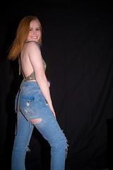 Forever (Fly Sandman) Tags: model modelshoot bluejeans redhead blueeyes portrait omaha nebraska charidykaiser blackbackground studio