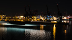 65106477-LR-3000 (the.digitaleye) Tags: river stroom fluss elbe container terminal burchardkai hamburg germany hpa wasser ladebrücken ladekräne schiffe crane water ship harbour sunset sundown blue hour eurogate waltershofer hafen port hhla