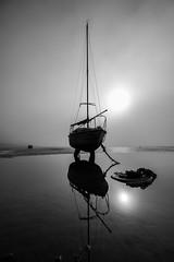 Sun through the mist. (daveknight1946) Tags: essex southend thorpebay mud riverthames water yacht mono silhouette mr