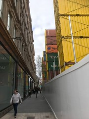 Castle Street Walkway on day of opening (John D McDonald) Tags: iphone iphone7plus appleiphone appleiphone7plus belfast northernireland ni ulster geotagged bankbuildings castlestreet castlestreetbelfast andersonmcauley andersonandmcauley amc yellow containers yellowcontainers shippingcontainers