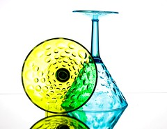 Bright Glasses (Karen_Chappell) Tags: glass glasses white yellow blue green textures pattern stilllife reflection circle round shape stemware glassware refraction product